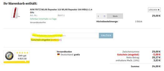 Gutschein eingeben AVM FRITZ!WLAN Repeater 310 für 24€ (statt 29€)