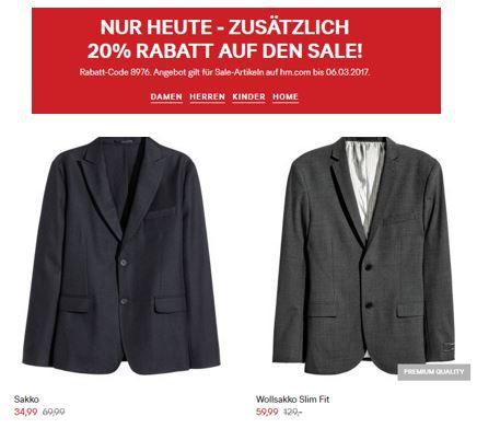 H und M Rabatt H&M: 20% extra Rabatt auf den Sale   nur heute!