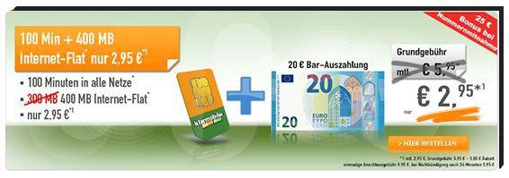 Klarmobil Hammer Telekom Smart 400 mit 400MB + 100 Minuten für 2,95€ mtl. + 20€ Auszahlung