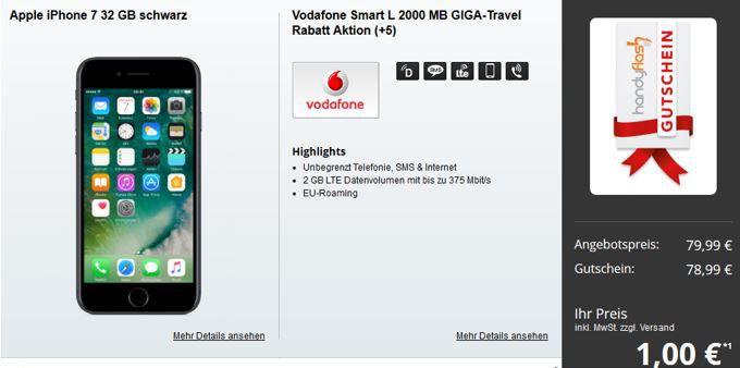 Knaller iPhone 7 Angebot iPhone 7 32GB  + Vodafone Smart L mit 2GB LTE für 34,99€ mtl.   Top!