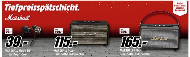 Media Markt Marshall Tiefpreisspätschicht   z.B. MARSHALL Mode In Ear Kopfhörer für 33€