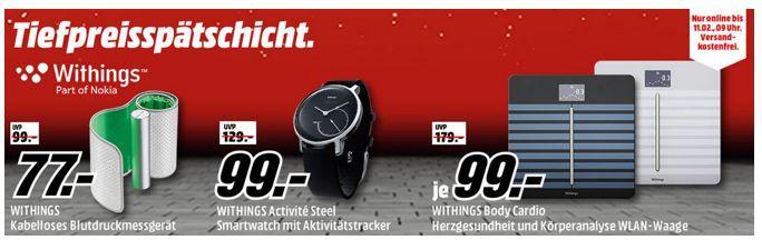 Media Markt WITHINGS Tiefpreisspätschicht   z.B. WITHINGS WBS04 Body Cardio, Personenwaage statt 165€ für 99€