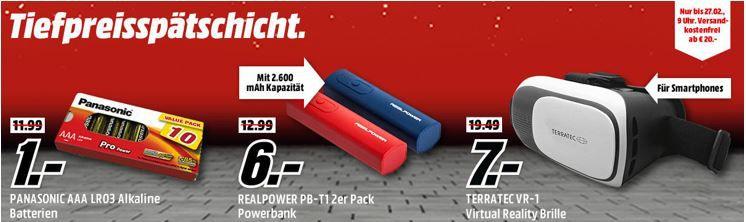 Media Markt  Tiefpreisspätschicht   u.a. Panasonic Batterien für 1€   ULTRON Bluetooth Lautsprecher  für 7€