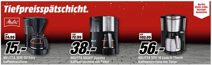 Media Markt Melitta Kaffeemaschinen Tiefpreisspätschicht   z.B. Melitta  Optima Timer für 38€