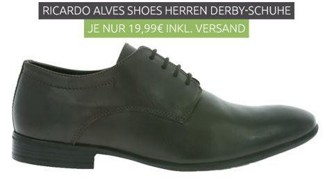RICARDO ALVES   Herren Derby brauner Echtleder Schuh für 19,99€