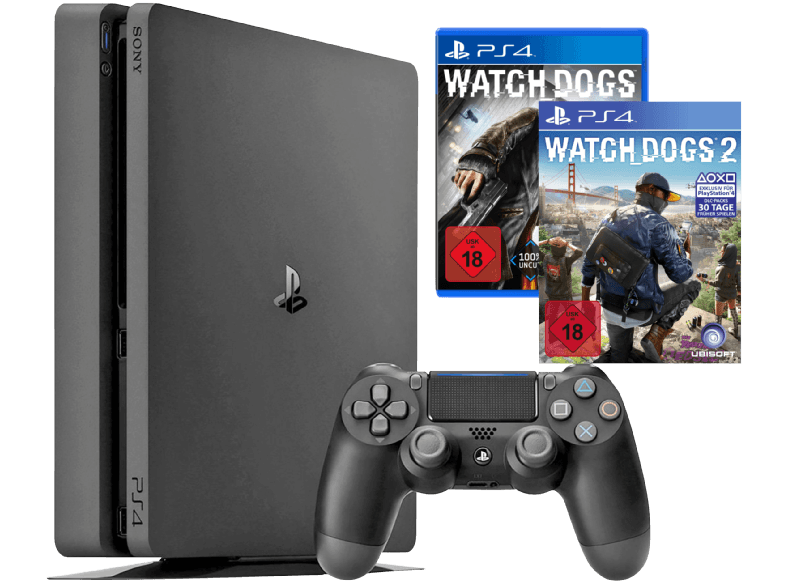 SONY-PlayStation-4-Konsole-Slim-1TB----Watch-Dogs---Watch-Dogs-2