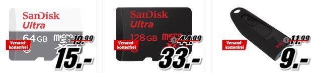 SanDisk Speicher Media Markt SanDisk Tiefpreisspätschicht   u.a. SanDisk Ultra 128GB SDXC Speicherkarte  für 30€