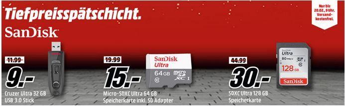 Media Markt SanDisk Tiefpreisspätschicht   u.a. SanDisk Ultra 128GB SDXC Speicherkarte  für 30€