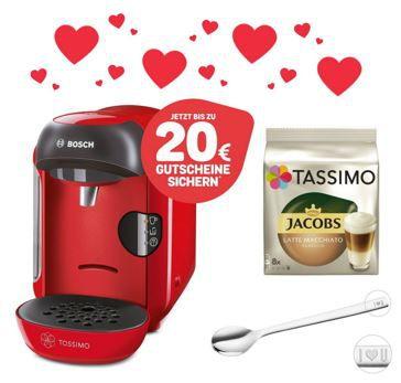 Valentinstags Special: TASSIMO VIVY Kapselmaschine + 20 EUR Gutscheine + WMF Löffel +T DISCs für 34,99€