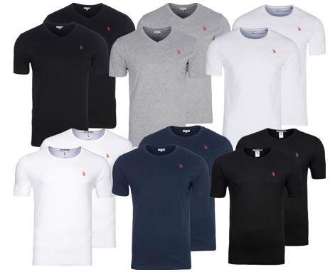 2er Pack U.S. POLO ASSN. V Neck u. Rundhals Herren T Shirts ab 8,49€