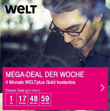 Nur für Telekom Kunden: 4 Monate WELTplus Gold gratis (Wert: 120€)