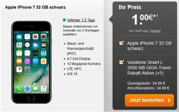 iPhone 7 + Allnet Telefon + SMS Flat + 2 GB LTE für 34,99€ mtl.
