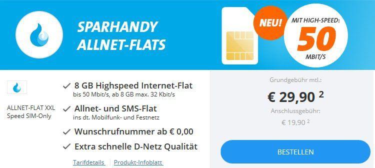 Sparhandy Allnet Flats bis zu 8GB + Telekom Netz ab 9,90€ mtl.