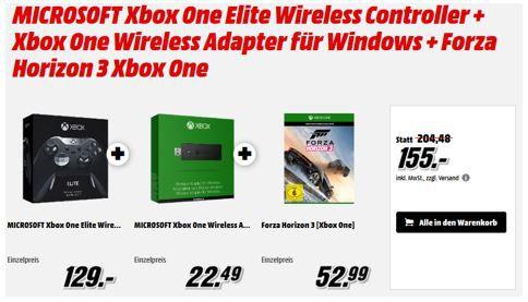 Xbox One Elite Wireless Controller + Xbox One Wireless Adapter + Forza Horizon 3 für 155€
