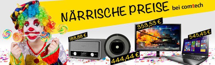 Närrische Preise bei comtech   großer Sale mit bis zu 52% Rabatt  z.B. Unold 78255 Slow Juicer Entsafter für 58,88€ (statt 89€)