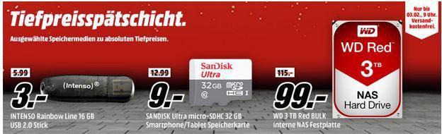 Media Markt Speicher Tiefpreisspätschicht   z.B WD Red interne Festpl. mit 3TB für 99€