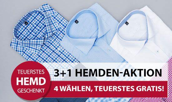 hemden ak t 4 Hemden zum Preis von 3 bei Hemden.de   z.B. 4 Seidensticker UNO Hemden ab 83,85€