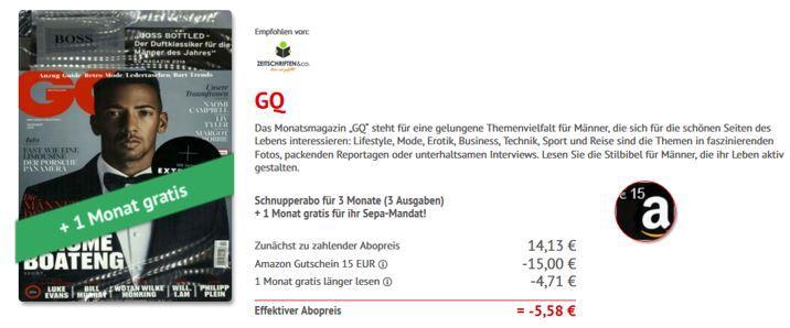 neue GQ Aktion GQ Miniabo mit 4 Ausgaben statt 18,84€ mit 0,87€ Gewinn