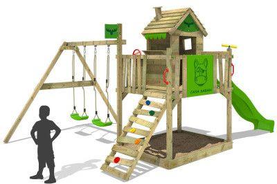 s l160030 e1487604032156 Fatmoose RockyRanch Roll XXL   Spielhaus mit Rutsch und Schaukel für 488,99€ (statt 600€)