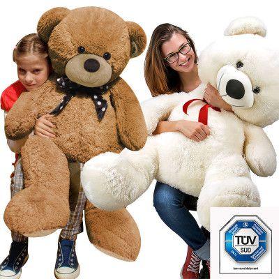 XXL Teddybär   120 cm lange Plüschbären in Weiß oder Braun für 39,99€ (statt 45€)