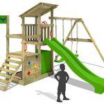 Fatmoose XXL Holz-Spielturm mit Kletternwand, Rutsche und Schaukel für 299€ (statt 400€)