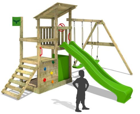 Fatmoose XXL Holz Spielturm mit Kletternwand, Rutsche und Schaukel für 329,95€ (statt 460€)