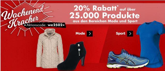 we2502 Karstadt Kracher mit z.B. 20% Rabatt auf  über 25.000 Produkte aus Mode & Sport