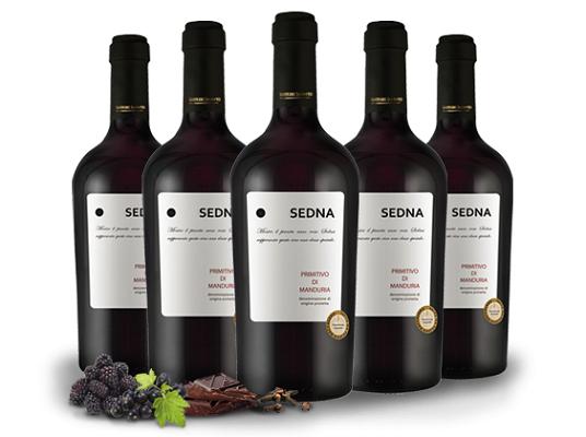 5 Flaschen Rotwein   Primitivo di Manduria SEDNA für 44,90€ (statt 69€)