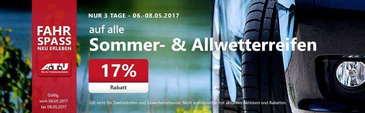 17% Rabatt auf alle Sommer  und Allwetterreifen + 5€ Gutschein bei A.T.U   VSK frei ab 50€