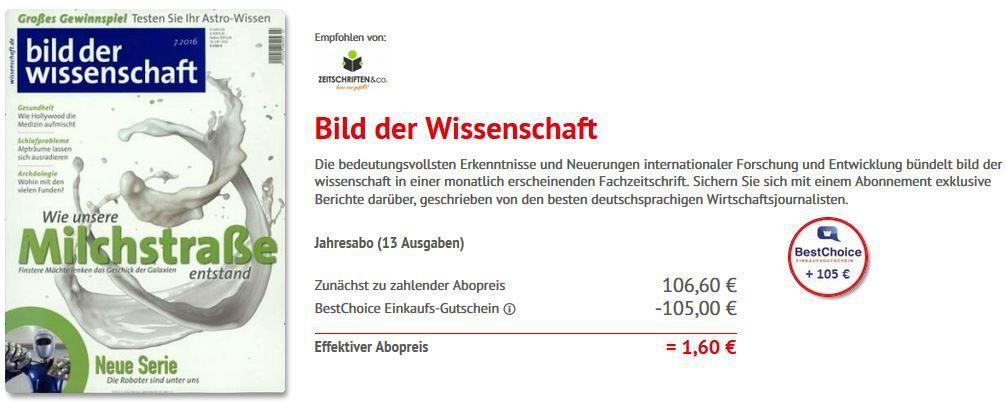 Bild der Wissenschaft   13 Ausgaben dank Gutschein für eff. 1,60€