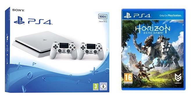 PlayStation 4 slim 500GB in Weiß + 2. Controller + Horizon: Zero Dawn für 274,16€ (statt 360€)