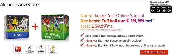 Sky Sport & Bundesliga für 19,99€ mtl. mit 12 Monate Laufzeit   noch einmal verlängert!