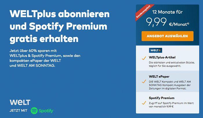 WELTplus Jahresabo nur 9,99€ mtl. + gratis 12 Monate Spotify Premium