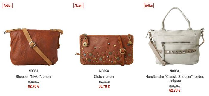 70% Rabatt auf Noosa Artikel   z.B. Classic Shopper Handtasche für 63€ (statt 90€)