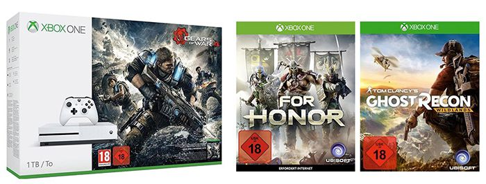 Xbox One S 1TB + Ghost Recon: Wildlands + For Honor + Gears of War 4 für 334,41€ (statt 418€)
