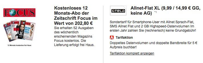 TOP! otelo Allnet Flat mit 2GB für 12,49€ mtl. + GRATIS Focus Jahresabo (Wert 203€)