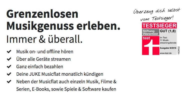GRATIS! JUKE Music Flat (40 Mio. Songs) für 3 Monate kostenlos testen (statt 30€)