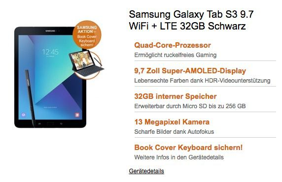 Samsung Galaxy Tab S3 9.7 WiFi + LTE 32GB ab 219€ (statt 760€) + bis zu 20GB Telekom LTE Flat ab 29,95€mtl.
