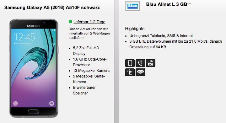 Samsung Galaxy A5 (2016) + o2 Allnet Flat mit 3GB LTE für 14,99€ mtl.