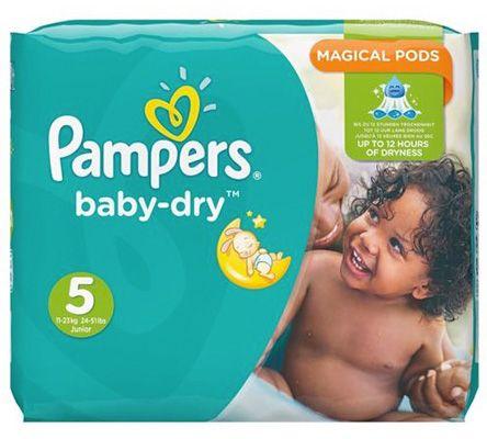 108er Pack Pampers Baby Dry Windeln Gr.5 (Junior) 11 23 kg für 23,95€ (statt 36€)