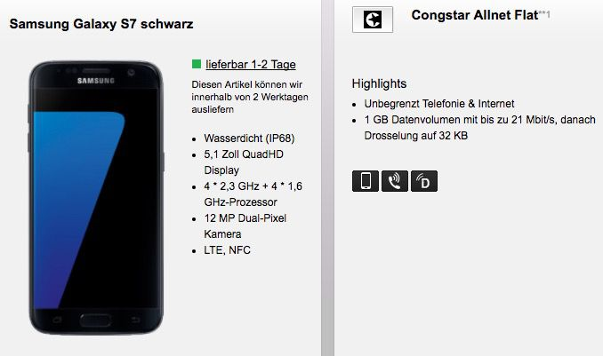 Samsung Galaxy S7 + Congstar Telekom Allnet Flat mit 1GB für 23,75€ mtl.