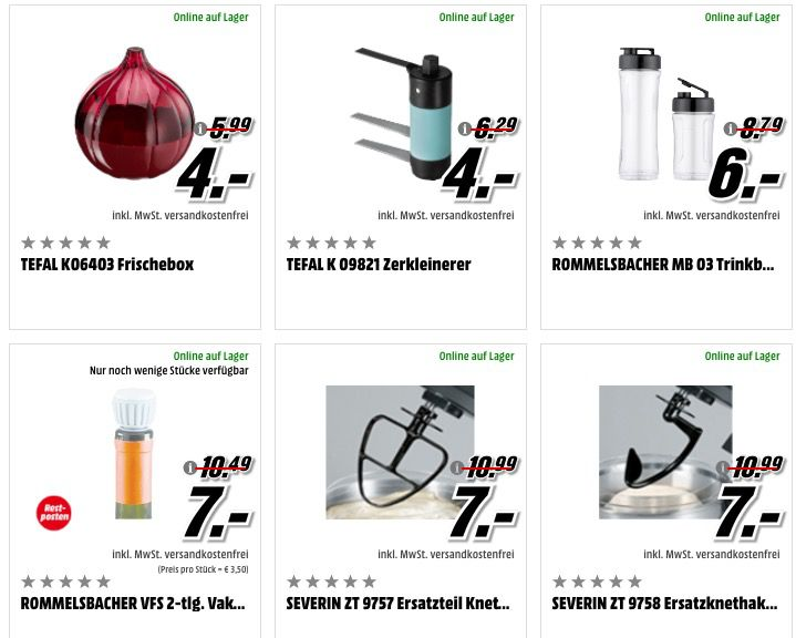 Günstige Haushalts Artikel bei Media Markt   z.B. Rommelsbacher Trinkbehälter nur 6€(statt 15€)