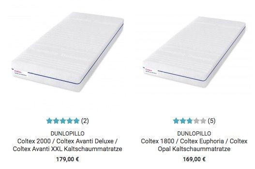 TOP! Dunlopillo Matratzen Sale bei Dormando   z.B. Coltex 1600 160x200cm für 141,10€ (statt 339€)
