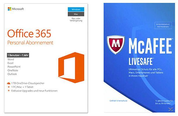 Vorbei! Microsoft Office 365 Personal + McAFEE LiveSafe 2017 für 29€ (statt 45€)