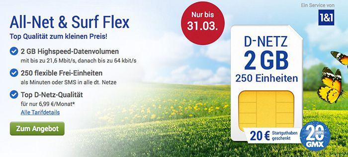 Bildschirmfoto 2017 03 13 um 14.13.08 GMX Vodafone Tarif mit 2GB für 6,99€ mtl.   3GB für 9,99€ oder 4GB für 14,99€ mtl. + 20€ Startguthaben