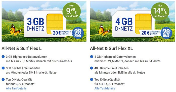 GMX Vodafone Tarif mit 2GB für 6,99€ mtl.   3GB für 9,99€ oder 4GB für 14,99€ mtl.
