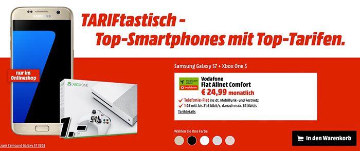 Vodafone Allnet Flat mit 1GB + Galaxy S7 + Xbox One S (500GB) für 26,70€ mtl.   effektiv 53€ Gewinn