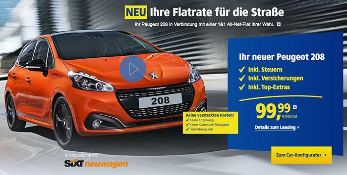 Peugeot 208 Leasing ab 99,99€ mtl. (12 Monate Laufzeit) + 1&1 Allnet Flat (24 Monate Laufzeit) ab 14,99€ mtl.
