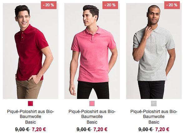 C&A: 20% auf Herren Poloshirts & auf Damen Blusen + 10% Gutschein   z.B. Piqué Poloshirt ab 7,20€