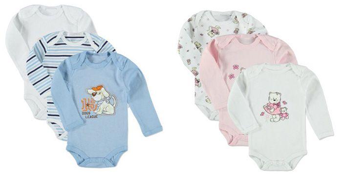 Knaller! 12 Langarm Baby Bodies aus 100% Baumwolle für 19,17€